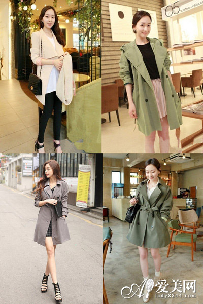 韩版风衣+连衣裙 淑女装扮惹人爱