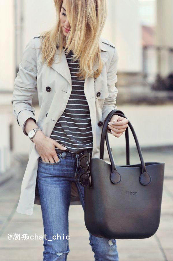 风衣+条纹 毫不费力变身法式美人